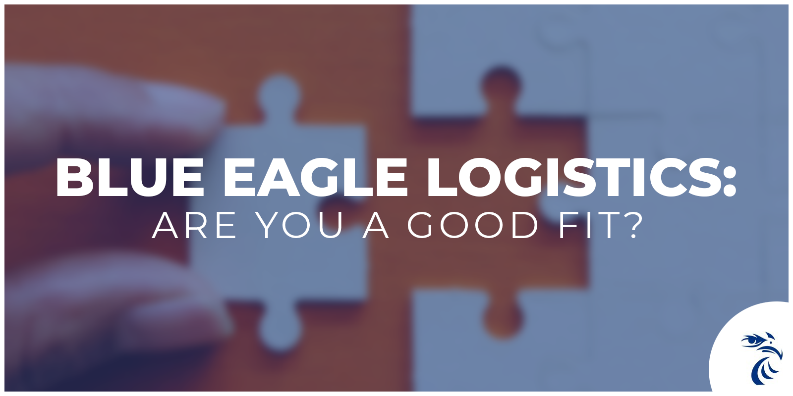 puzzle pieces with tagline: Blue Eagle Logistcs, Are you a good fit?