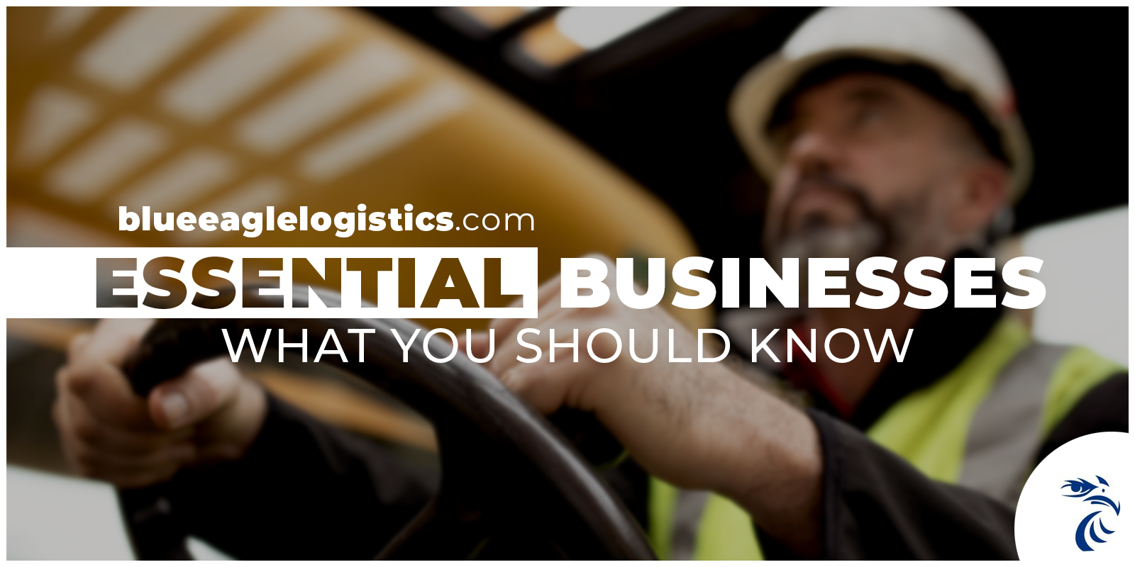 Driver with hands on steering wheel with headline: Essential Businesses What You Should Know